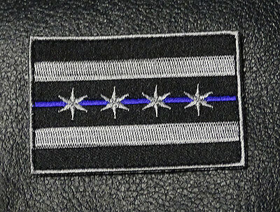 CHICAGO ILLINOIS FLAG POLICE 3 inch  TACTICAL SWAT POLICE BLUE LINE HOOK PATCH