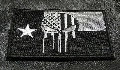 Punisher Skull Texas Flag Tactical Morale Army Hook Loop Patch
