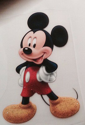 **MICKEY MOUSE GLITTER FABRIC SHIRT IRON ON TRANSFER**Other Characters Too!**