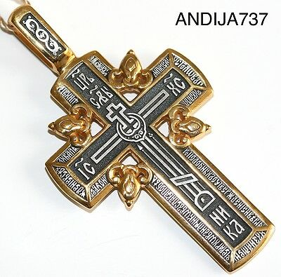 Russian Orthodox Cross. Silver 925+.999 Gold. Golgotha Cross. Crucifix W/ Prayer