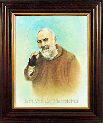 SAINT PADRE PIO FRAMED PICTURE - 100's OF RELIGIOUS STATUES AND CANDLES LISTED