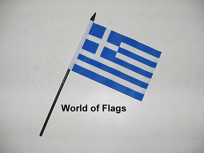 """GREECE SMALL HAND WAVING FLAG 6"""" x 4"""" Greek Flags Crafts Table Desk Top Display"""