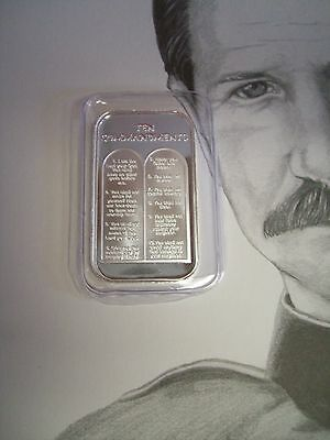 1 oz TEN 10 COMMANDMENTS .999 Fine  SILVER  BULLION BAR + art