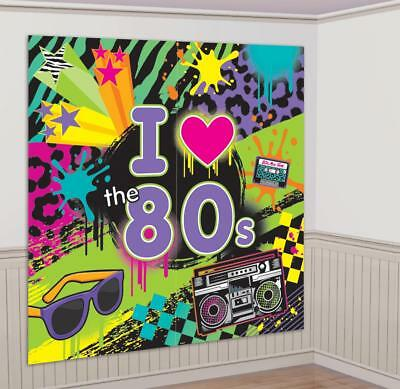 5ft 80s Theme Scene Setter Wall Decoration Photo Prop Birthday Party Banner