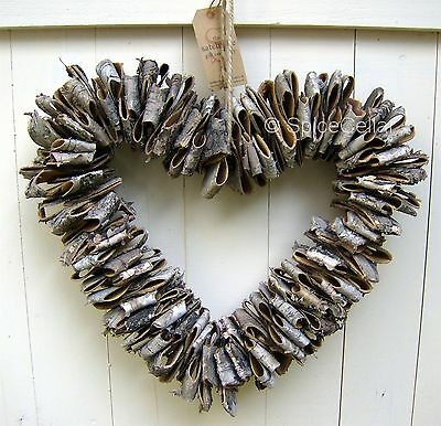 Birch Bark Rustic Heart 38cm - Christmas Wreath - Shabby Chic Decoration
