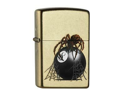 """ZIPPO """"EIGHT BALL WITH SPIDER"""" GOLD DUSK LIGHTER / 60000649 ** NEW in BOX **"""