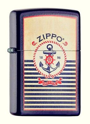 "ZIPPO 2016 NEW !! ""ANCHOR"" NAVY BLUE COLOR LIGHTER / 60000960 ** NEW in BOX **"