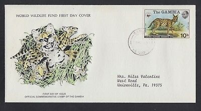 GAMBIA 1976 FOUR WWF WORLD WILDLIFE FUND ANIMAL FIRST DAY COVERS FDCs