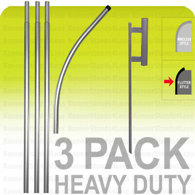 3 PACK-  Swooper Flag 15' POLE + SPIKE Ground Stake Mount Feather Flutter KIT