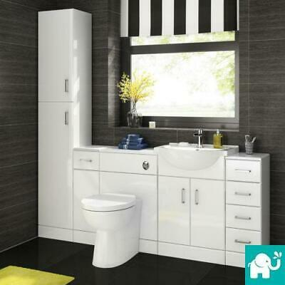 Bathroom Vanity Cupboard Unit Ceramic Sink Basin Wc Toilet Suite White Gloss
