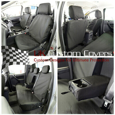 Ford Ranger T6 2012 On -Tailored Front & Rear Seat Covers Black 155 156