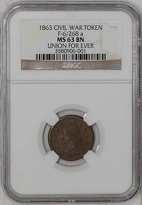 1863 Civil War Token F-6/268 a Union Forever MS63 BN NGC