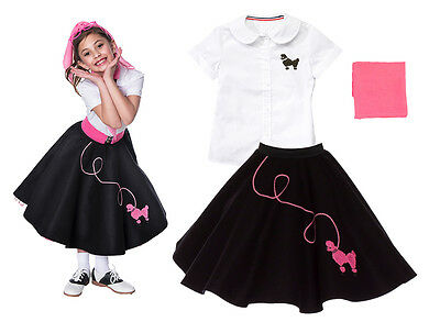 Hip Hop 50s Shop Girls 3 pc Poodle Skirt Outfit Halloween or Dance Costume Set