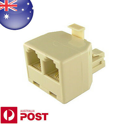 RJ11 6P4C Male to 2 Ports Female Telephone line Splitter NEW AUS POSTAGE - Z0559