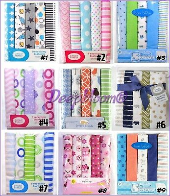 Receiving Blankets Set 5 Cotton Flannel Pack Baby Boys Girls Unisex Multi New