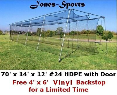 Batting Cage Net 12' x 14' x 70' #24 HDPE (42PLY) with Door Baseball Softball