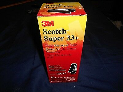 "3M Scotch Super 33+ Vinyl Electrical Tape 10 Rolls In Box 3/4"" X 44 Ft. #10075"