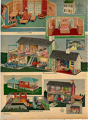 1957 ADVERT 2 PG Doll House Happi Time Split Level Metal Plastic Furniture