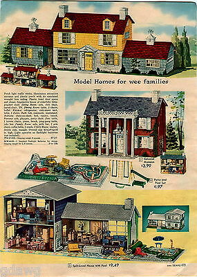 1959 ADVERT 2 PG Colonial Mansion Doll House COLOR Split Level