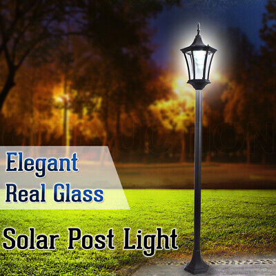 Deluxe Outdoor Solar-Powered Garden Yard Post Light Path Security Lamp Glass
