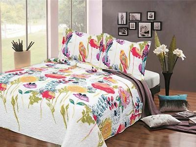 Bedspread and 2 Pillow Shams Double King Size Quilted Soft Throw Set + Shams
