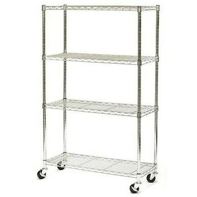 "NEW NSF Certified Chrome 4-Shelf Wire Shelving - 72""H x 48""W x 18""D with CASTERS"