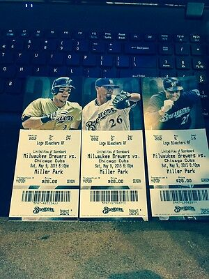2015 Milwaukee Brewers Season Ticket Stub Pick Your Game Bryant Schwarber Cubs