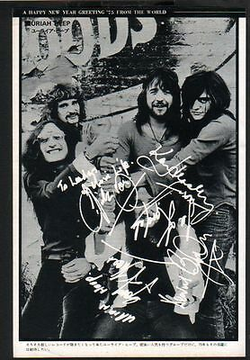1975 Uriah Heep JAPAN mag photo pinup w/ new year message / vintage clipping 01m