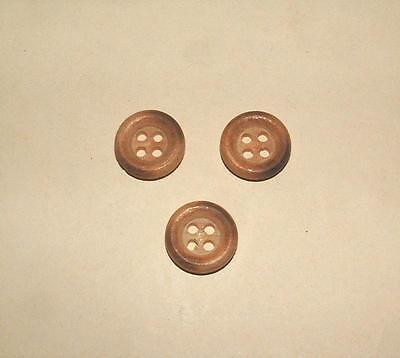 "Set Of Three Vintage Natural Wood 5/8"" Round 4 Hole Sewing Buttons"