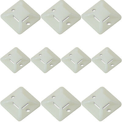 10x – Neutral Plastic Cable Tie Bases -19x4mm- Sticky Back Adhesive Mount Clips