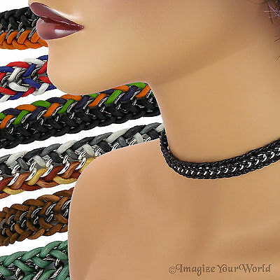 Custom Leather and Chain Choker Necklace LCB1 braided woven punk rock goth vamp