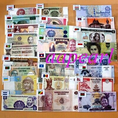 100pcs different 30 countries World Banknotes with flags Brand New Uncirculated