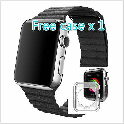 Black Stone Leather Loop Soft Watch band Strap for Apple Watch 42mm Free Case 1