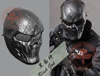 War Game Mesh Metal Paintball Outdoor Airsoft Protection Full Mask 06 -Black God