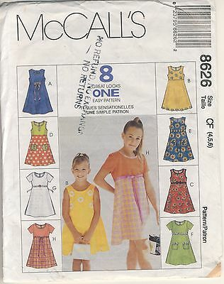 McCall's #8626 Children's & Girl's dress size 4 - 5 - 6 sewing copyright 1997