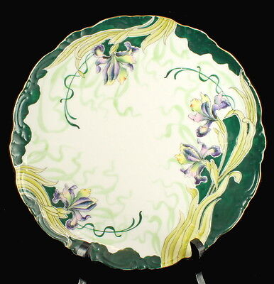 Antique Art Nouveau Eleanor China Hand Painted Cabinet Plate Green Purple Iris