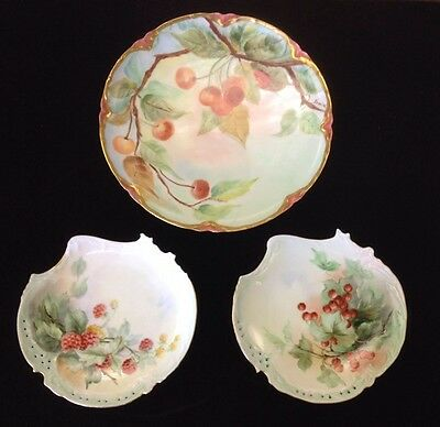 3 Beautiful Hand Painted Fruit Limoges Plates - artist signed, c.1910 NR