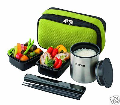Tiger Thermal Lunch box Bento Jar Keep warm food container pouch Green Japan