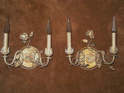 2 Vintage White Washed Wall Sconce Wall CHIC Flower Lamp Lights NOT Shabby ITALY