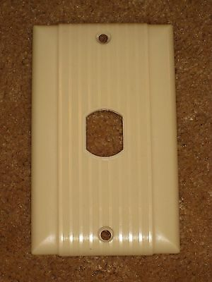 Vintage  UNILINE BAKELITE Ribbed Switch Outlet Plug End Wall Plate Cover #2