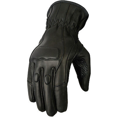 New Ladies Motorcycle Leather Riding Gloves Black