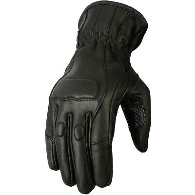 New Womens Motorcycle Leather Riding Gloves Black