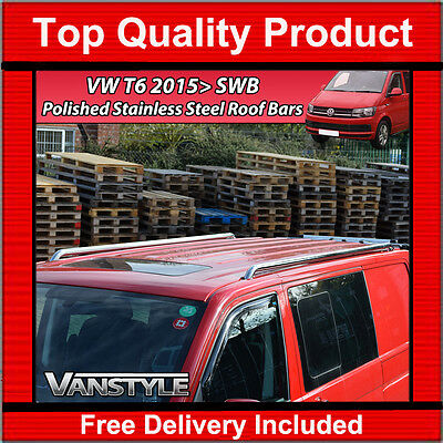 New Vw T6 Transporter Swb Polished Stainless Steel Roof Rails Roof Bars Chrome