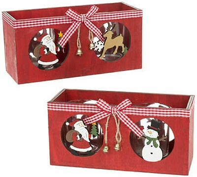 Wooden Christmas Double Tealight Candle Holder Choice of 2 Sold Individually