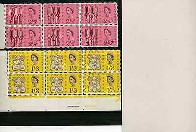1963 2½d-1/3 FREEDOM FROM HUNGER (O) SET U/MINT BLOCKS OF SIX SG 634-5