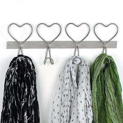 Heart coat hook 4 four hanger clothes grey vintage rustic shabby chic wall