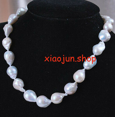 """Genuine 15-24mm Natural White Baroque Pearl Necklace 18"""""""