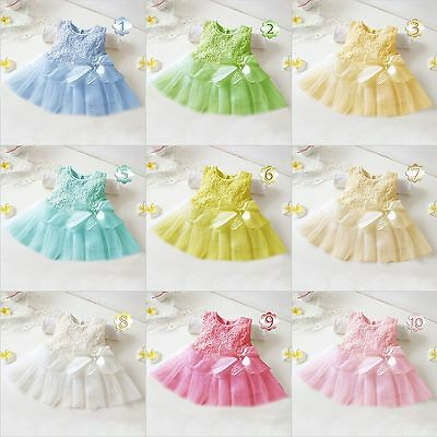 Baby Girls Toddler Lace Tutu Bow Flower Wedding Bridesmaid Party Princess Dress