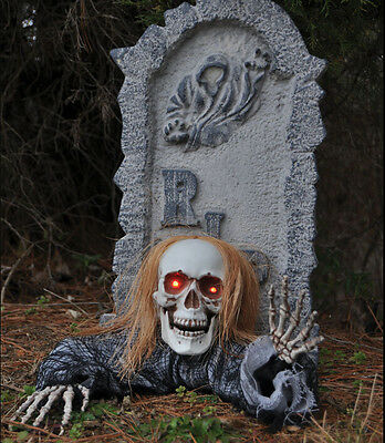 New Tombstone with Skull Ground Breaker Halloween Prop Haunted House Decoration