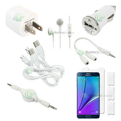 10pc NEW 2X USB Cable+2X Charger+Headset for Android Phone Samsung Galaxy Note 5
